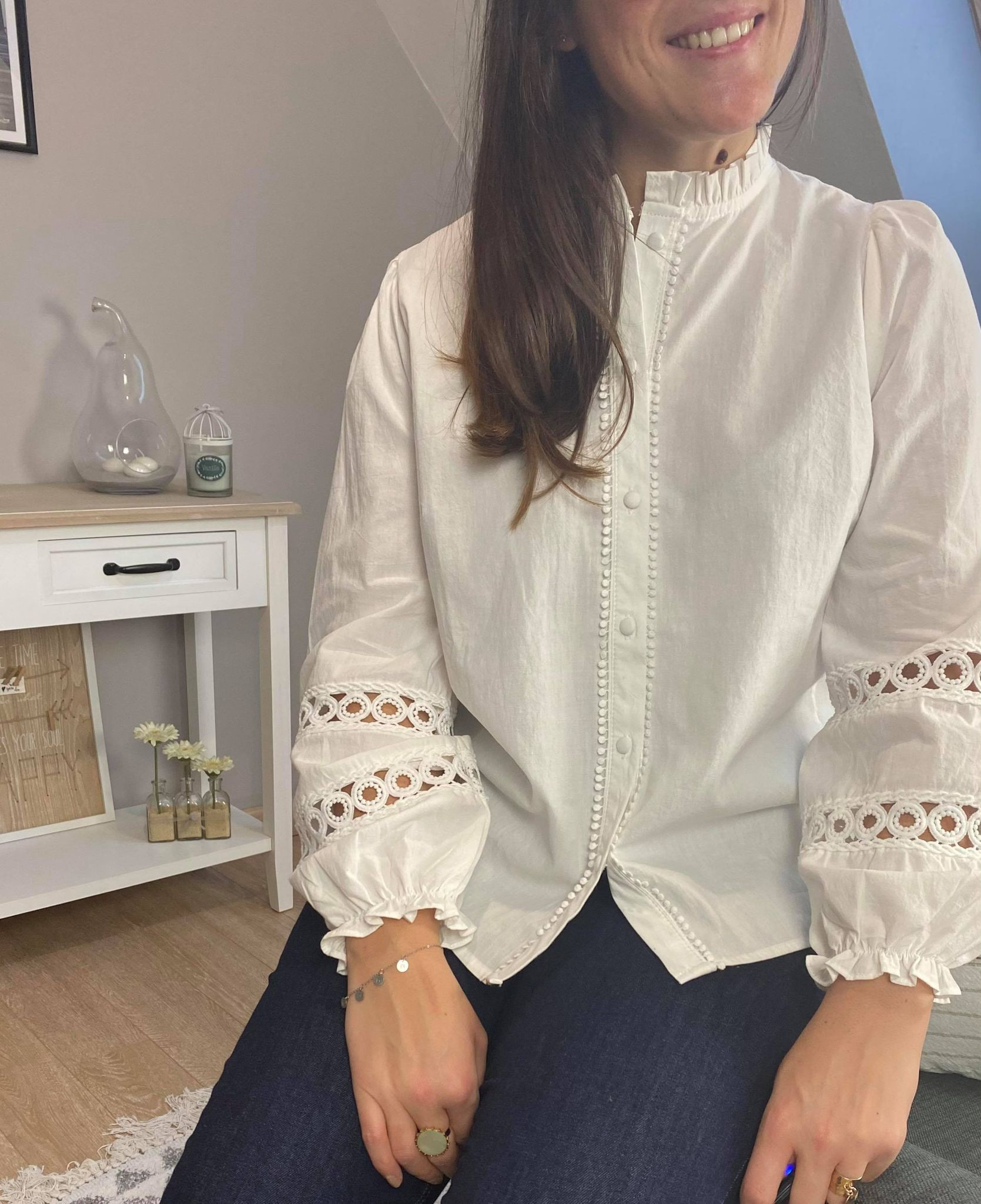 Blouse Marie blanche avec broderies
