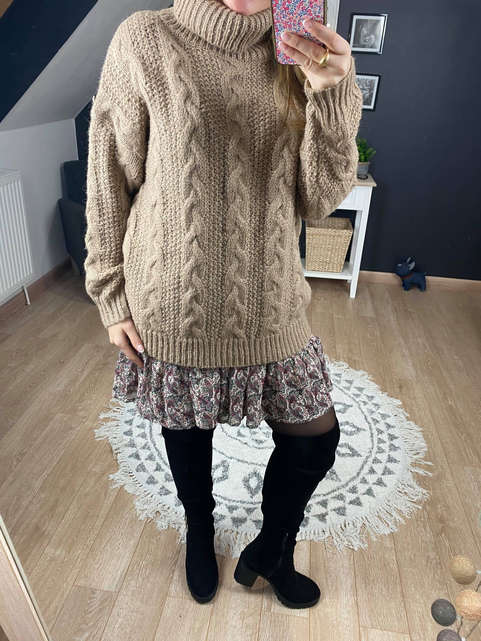 Pull Will col roulé grosse maille beige