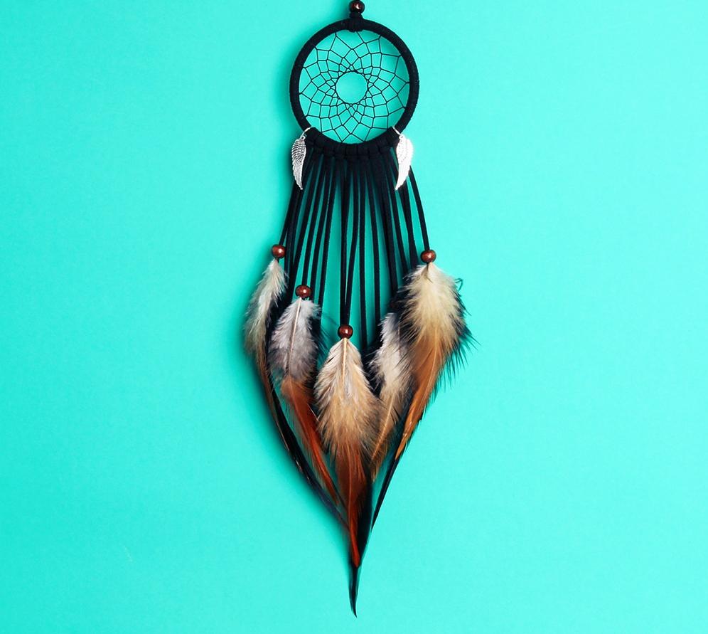 Capteur de Rêves Noir ou Bleu Gris avec ailes d\'anges