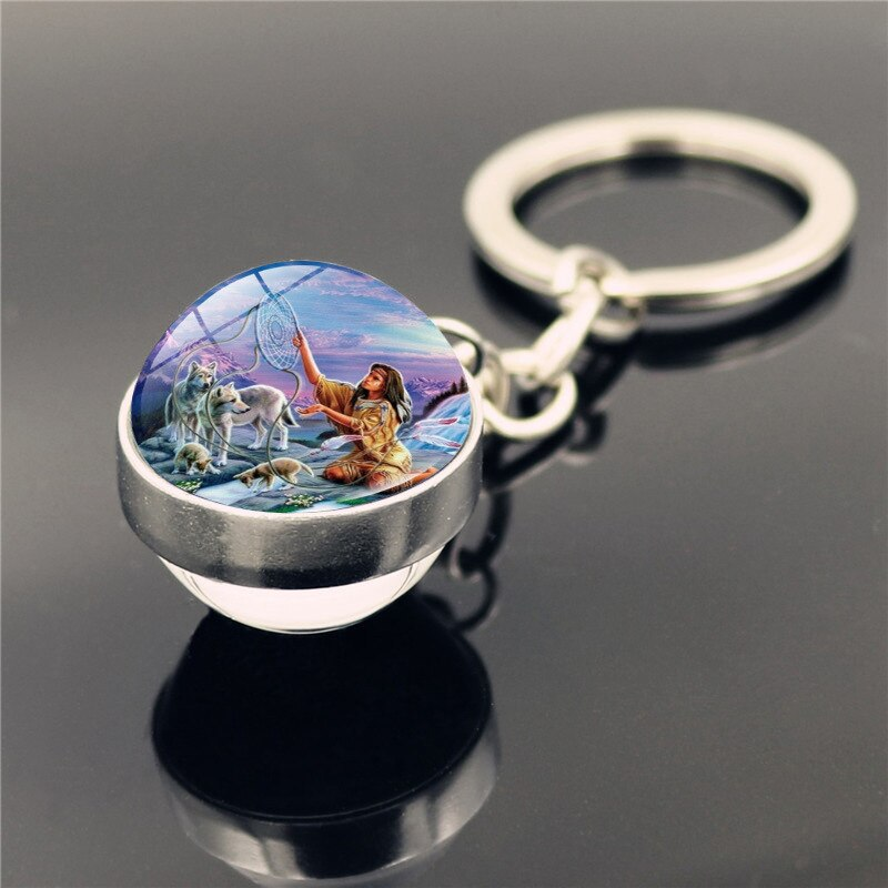 porte clés capteur de rêves loup