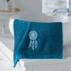 serviette main bleu foncé