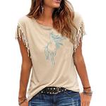 tee shirt beige cheval