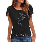tee shirt noir cheval