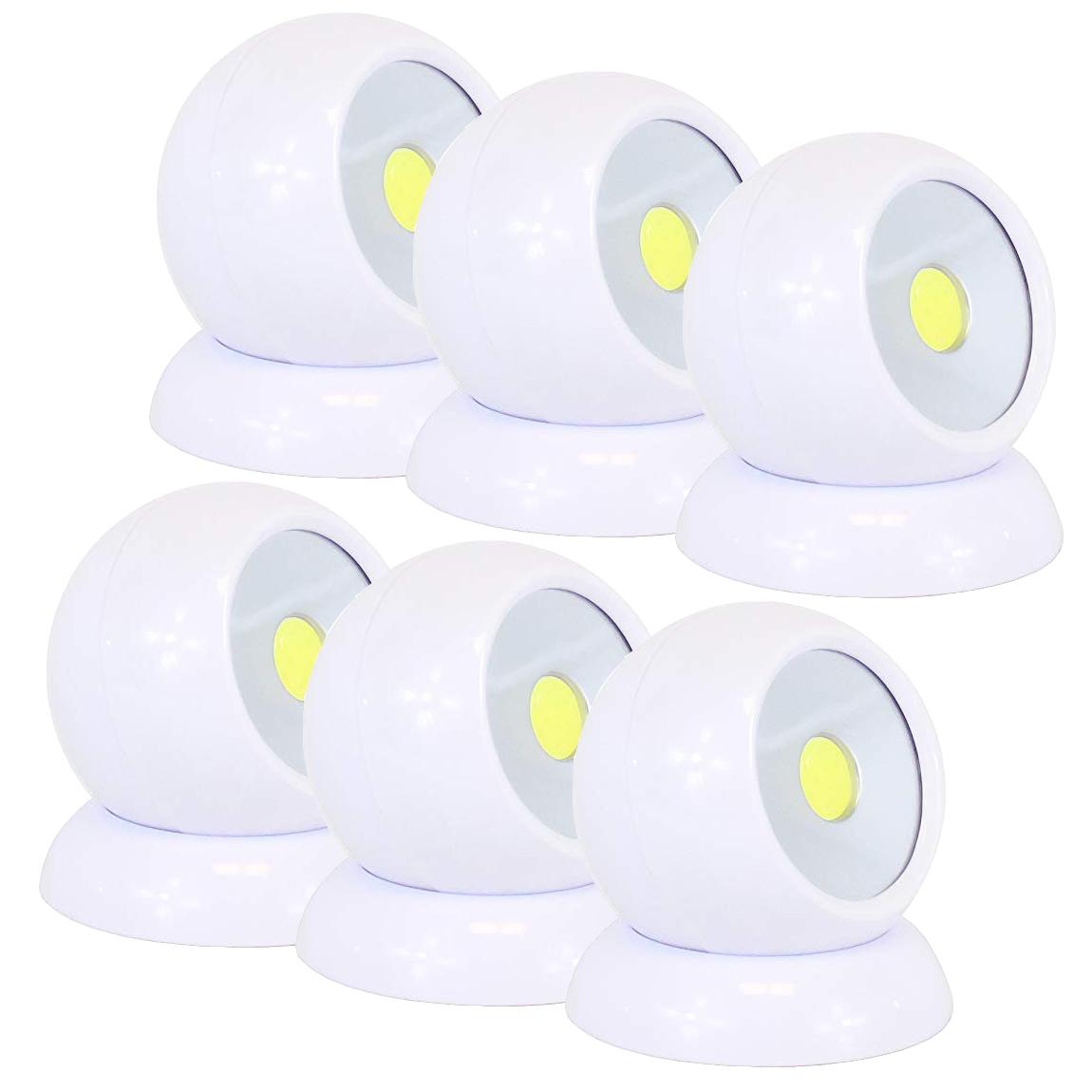 Lot de 6 Lampes Nomades Lumière Maxi 360° avec support magnétique – Eclaire LED sans fil – Technologie COB