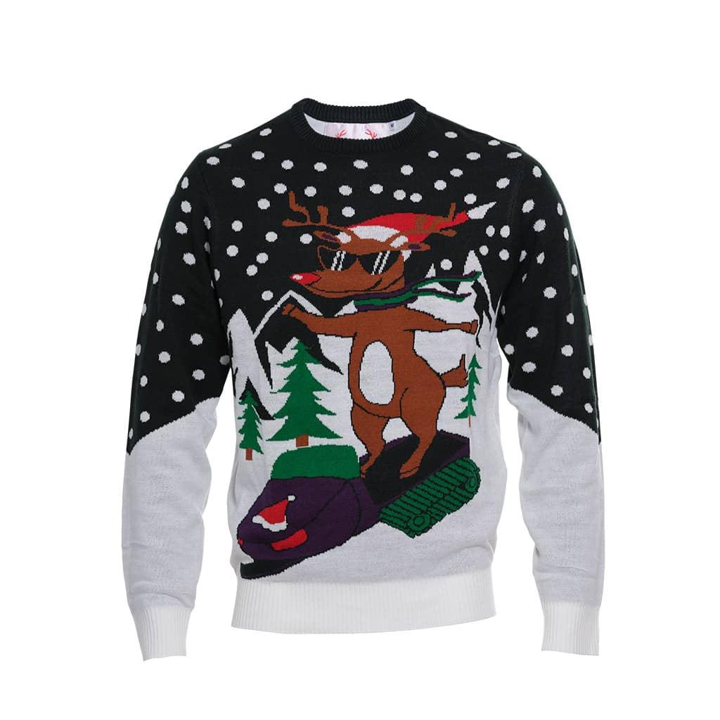 Pull de Noël Rudolph en moto-neige