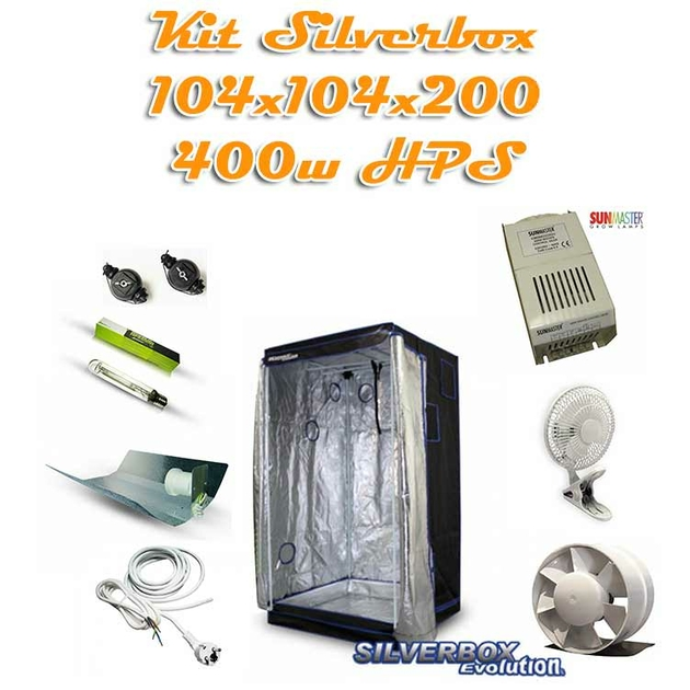 Kit silverbox evolution 1m2 400w hps kit de culture pack - Kit chambre de culture complet ...