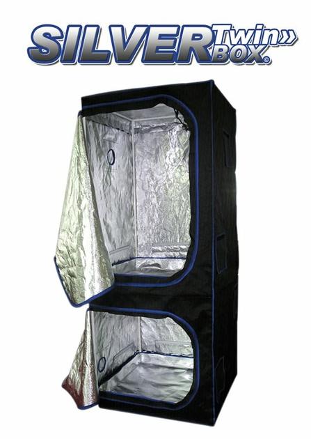 Twin box 80x80x200cm chambre de culture int rieur silverbox twin double tage growshop - Chambre de culture double ...