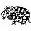 Autocollant breton Lulu la vache BZH Noire