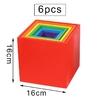 Jeu de construction arc-en-ciel jouet bomo-6 cubes en bois de couleurs vives