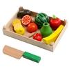 Jeu d' imitation cuisine fruits et legumes à découper en bois-jouet bomo-montessori