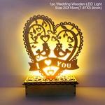 Decoration romantique en bois-coeur avec eclairage led de la boutique jouet bomo-cadeau-saint valentin-anniversaire-mariage-amour d oiseaux