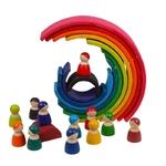 Jeu de construction en bois arc-en-ciel jouet bomo-jolie décoration faites avec les arches et les bonhommes