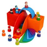 Jeu de construction en bois arc-en-ciel jouet bomo-décor petit pont construit