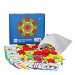 Puzzle creatif 155 pieces en bois, création Tangram, reproduite des formes et des couleurs de la boutique jouet bomo