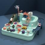 Petit circuit voiture Montessori Jouet Bomo en AbS couleurs pastels , vue de l ensemble du jeu interactif
