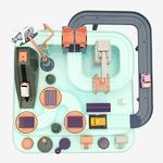 Petit circuit voiture Montessori Jouet Bomo en AbS couleurs pastels vue du dessus