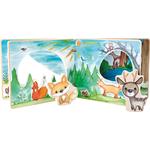 Livre d images interactif en bois, paysage forestier, jouet bomo-small foot legler-livre ouvert