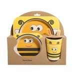 Ensemble repas pour bébé et enfant en Bambou-jouet-bomo-diversification-tasse-fourchette-cueillere-assiette-bol