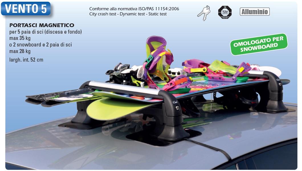 porte ski magn tique vento 5 4 5 paires de skis ou 2 snowboards et 2 paires de skis avec. Black Bedroom Furniture Sets. Home Design Ideas