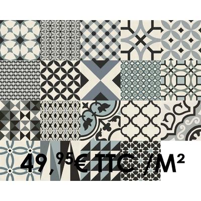 Carrelage 20x20cm Decoro Freddo Mix avec 19 motifs mélangés (Boîte de 0,96 m²)