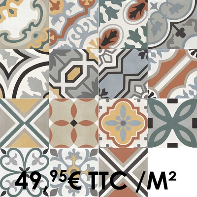 Carrelage 20x20cm Decoro Mix avec 15 motifs mélangés (Boîte de 0,96 m²)