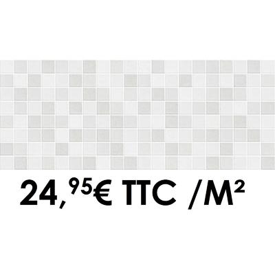 Faïence 20x50 cm Mosaïque White (Boîte de 1,40 m²)