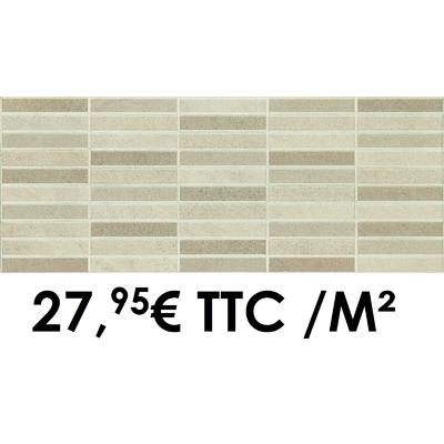 Faïence 20x50 cm Mosaïque Ivoire/Noisette (Boîte de 1,40 m²)