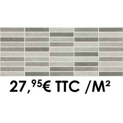 Faïence 20x50 cm Mosaico Blanc/Gris (Boîte de 1,40 m²)