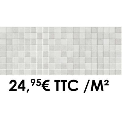 Faïence 20x50 cm Mosaïque White/Grey (Boîte de 1,40 m²)