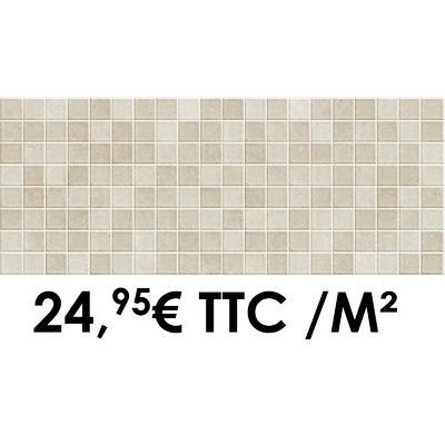 Faïence 20x50 cm Mosaïque Ivory/Beige (Boîte de 1,40 m²)