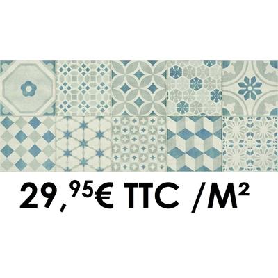 Faïence 20x50 cm Décor I Blanc/Gris/Bleu (Boîte de 1,40 m²)