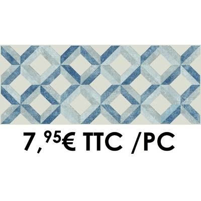 Faïence 20x50 cm Décor II Blanc/Gris/Bleu (Boîte de 4 décors)