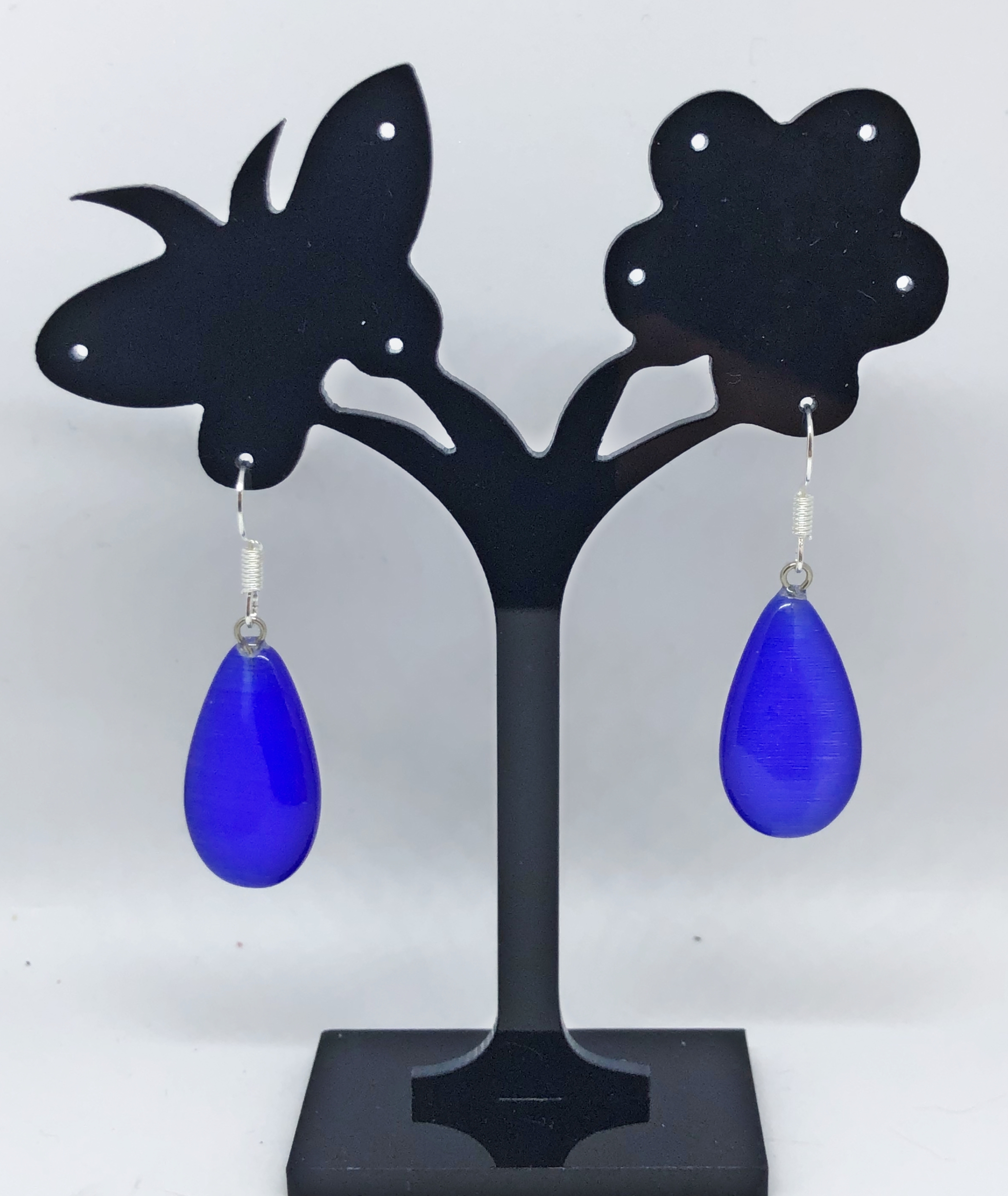 Boucles d\'oreilles oeil de chat bleu royal larme plate - Angel shop