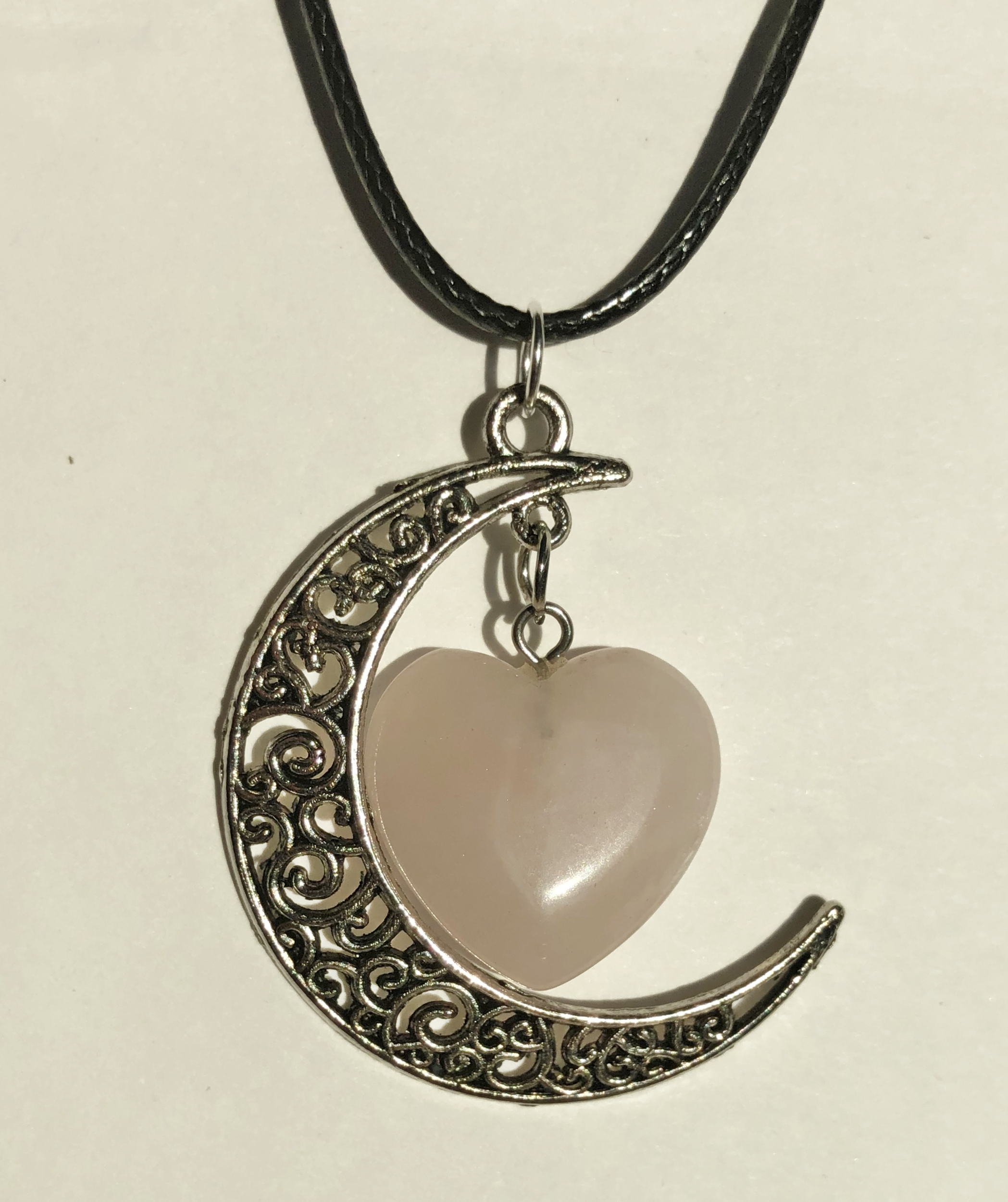 Collier lune cœur quartz rose - Angel shop