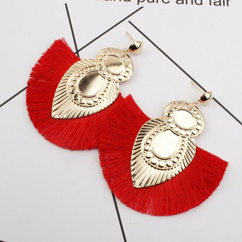 Boucles d\'oreilles boheme rouge puces - Angel shop