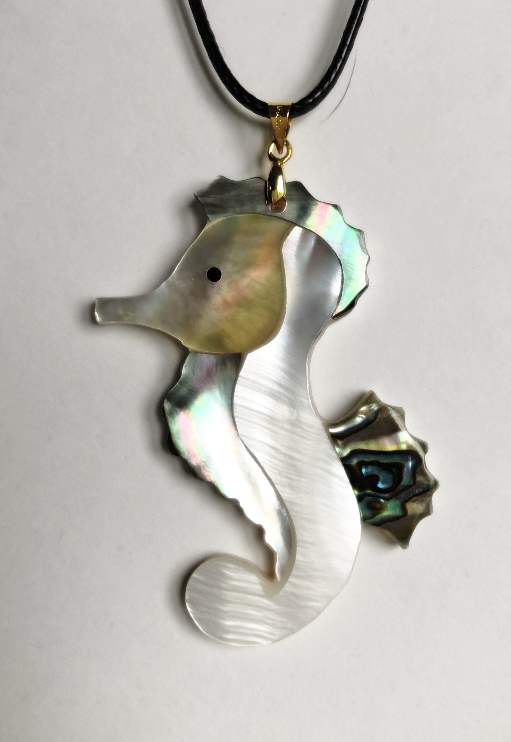 Collier hippocampe nacre abalone - Angel shop