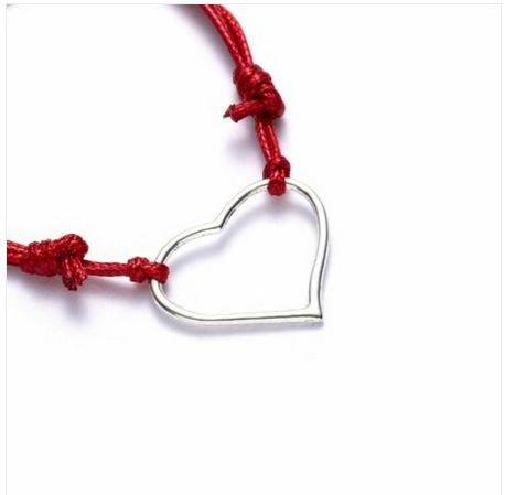 Bracelet corde coeur coloris rouge - Angel shop
