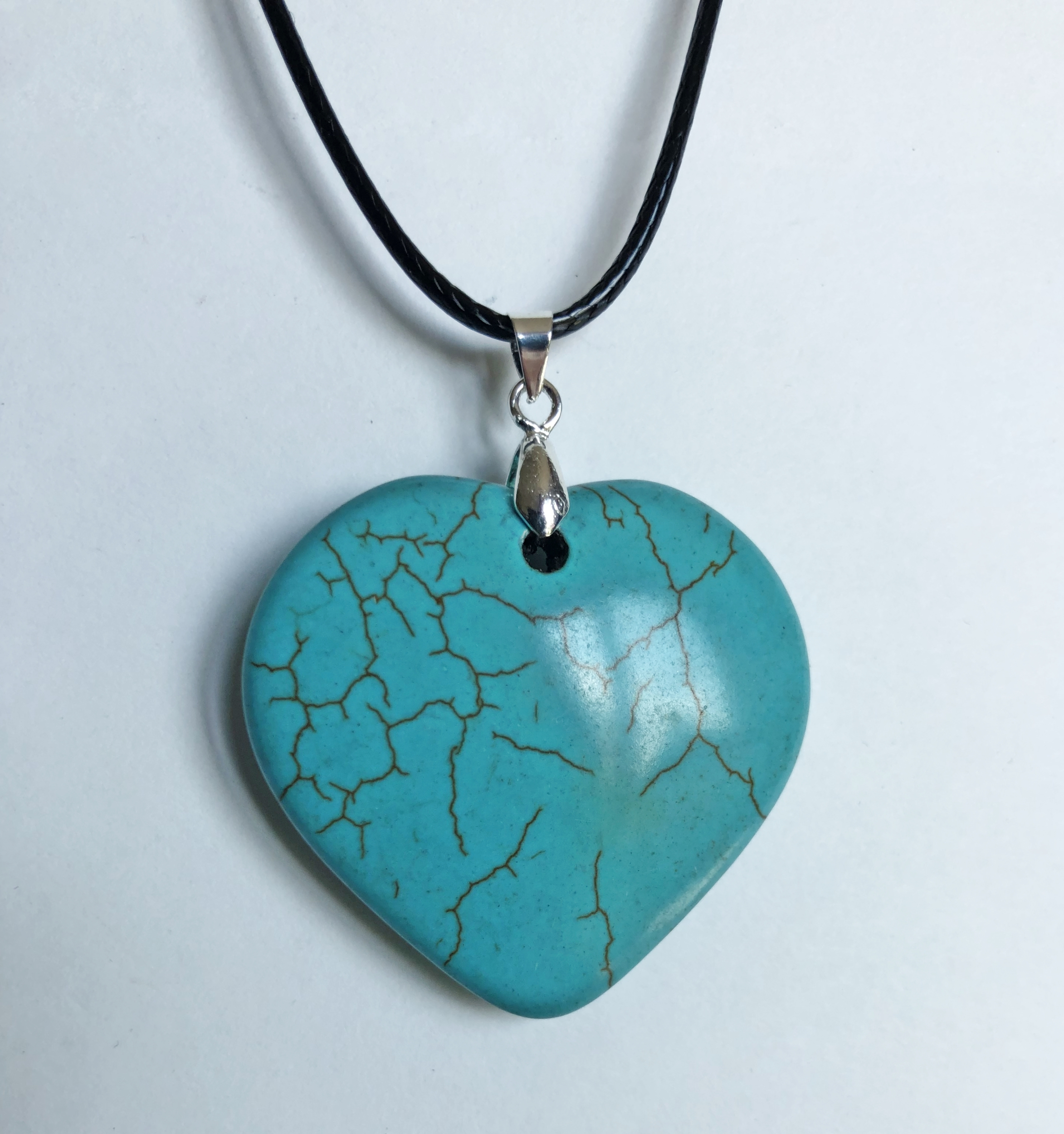 Collier coeur howlite turquoise - Angel shop