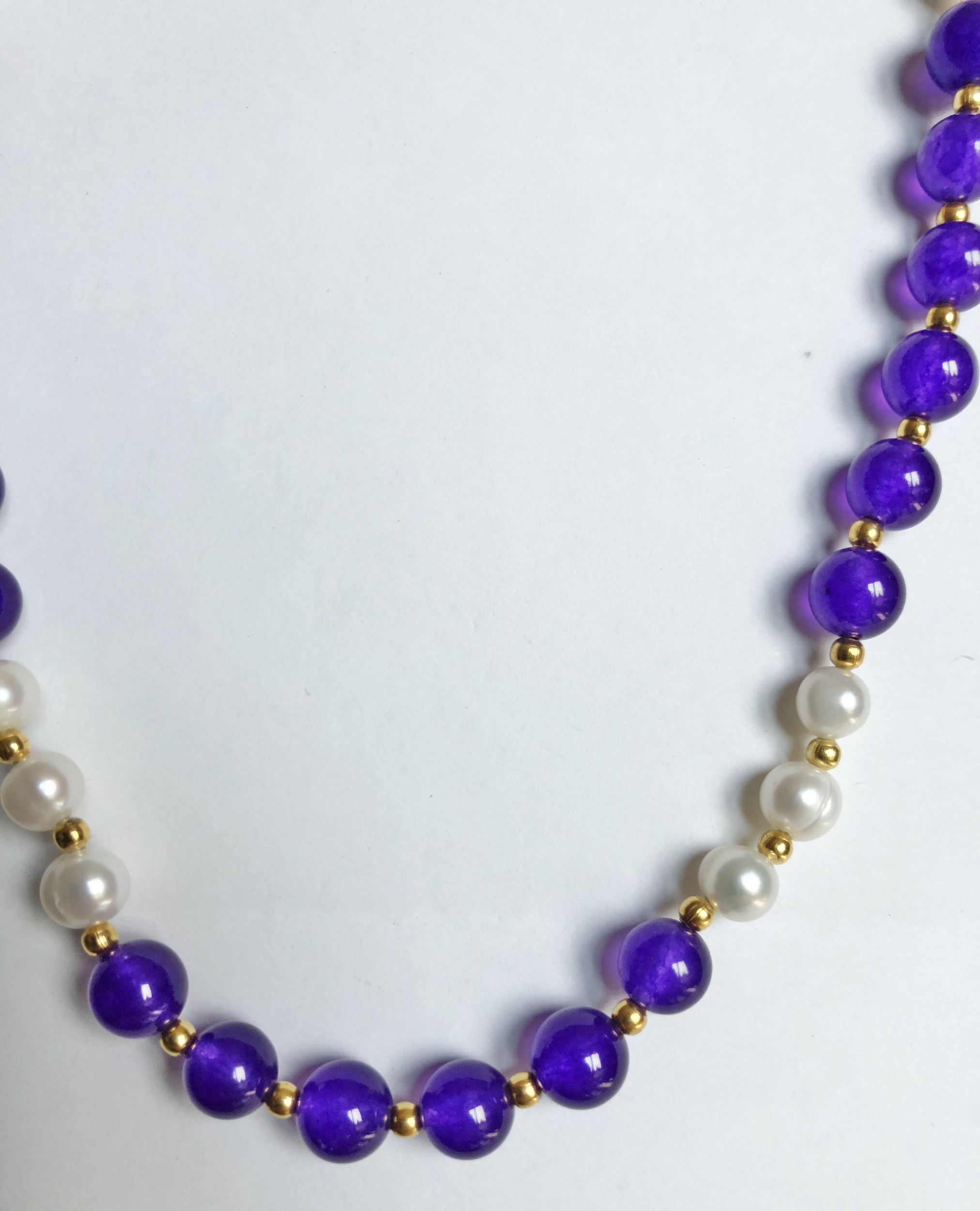 Collier perles de culture blanche akoya et amethyste - Angel shop