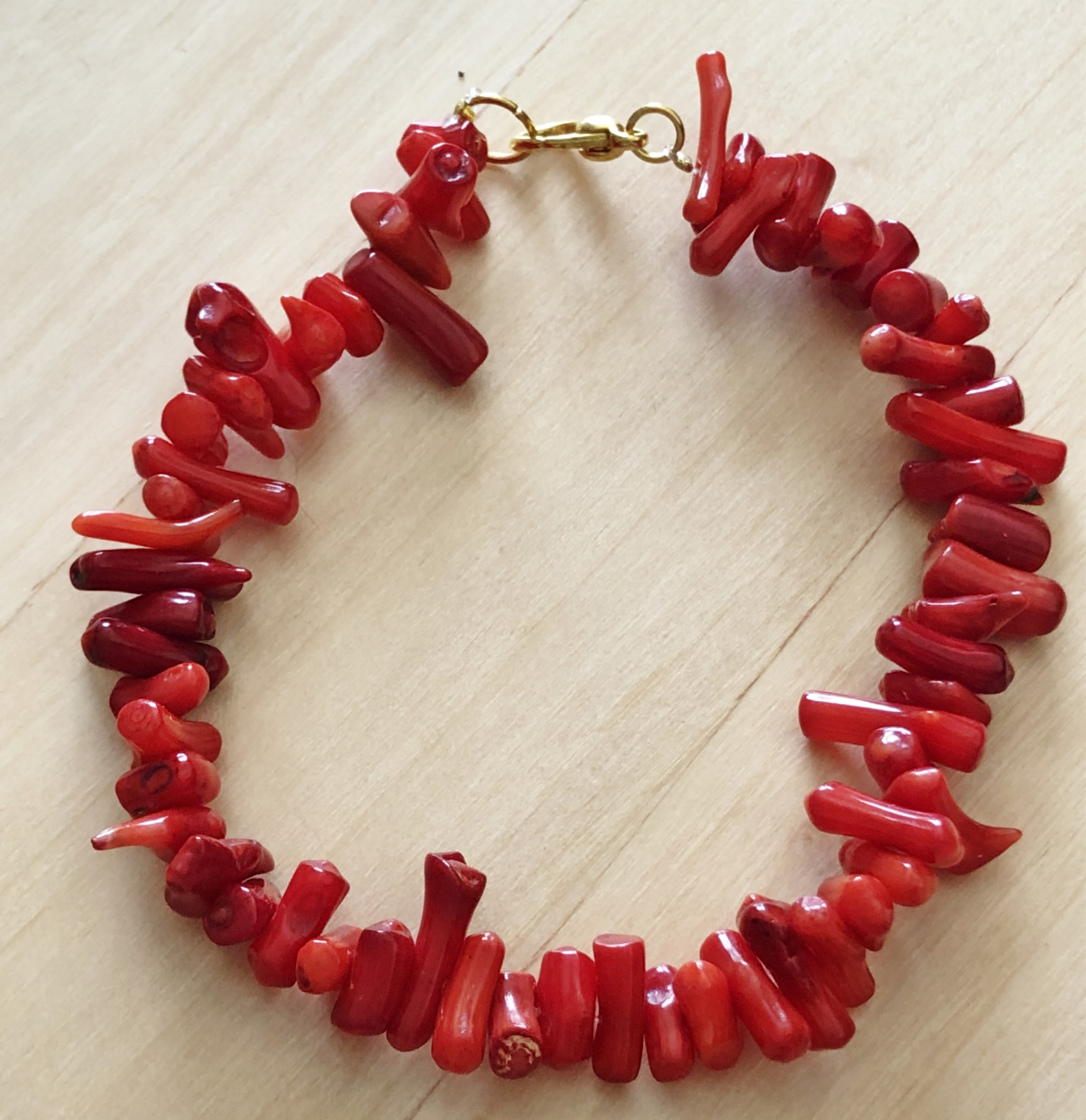 Bracelet corail rouge véritable forme libre  - Angel shop