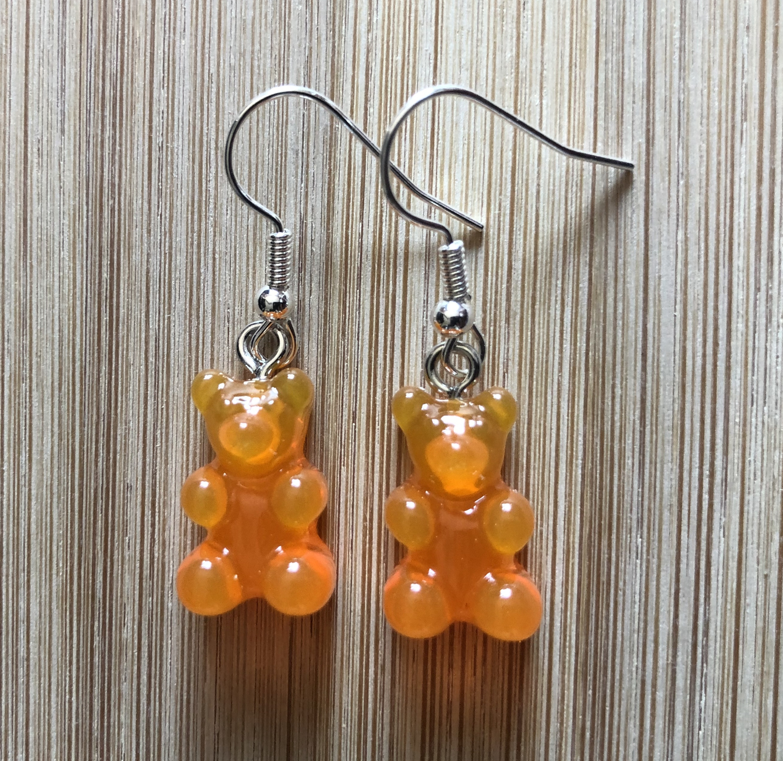 Boucles d\'oreilles ourson bonbon acidulé transparent orange - Angel shop