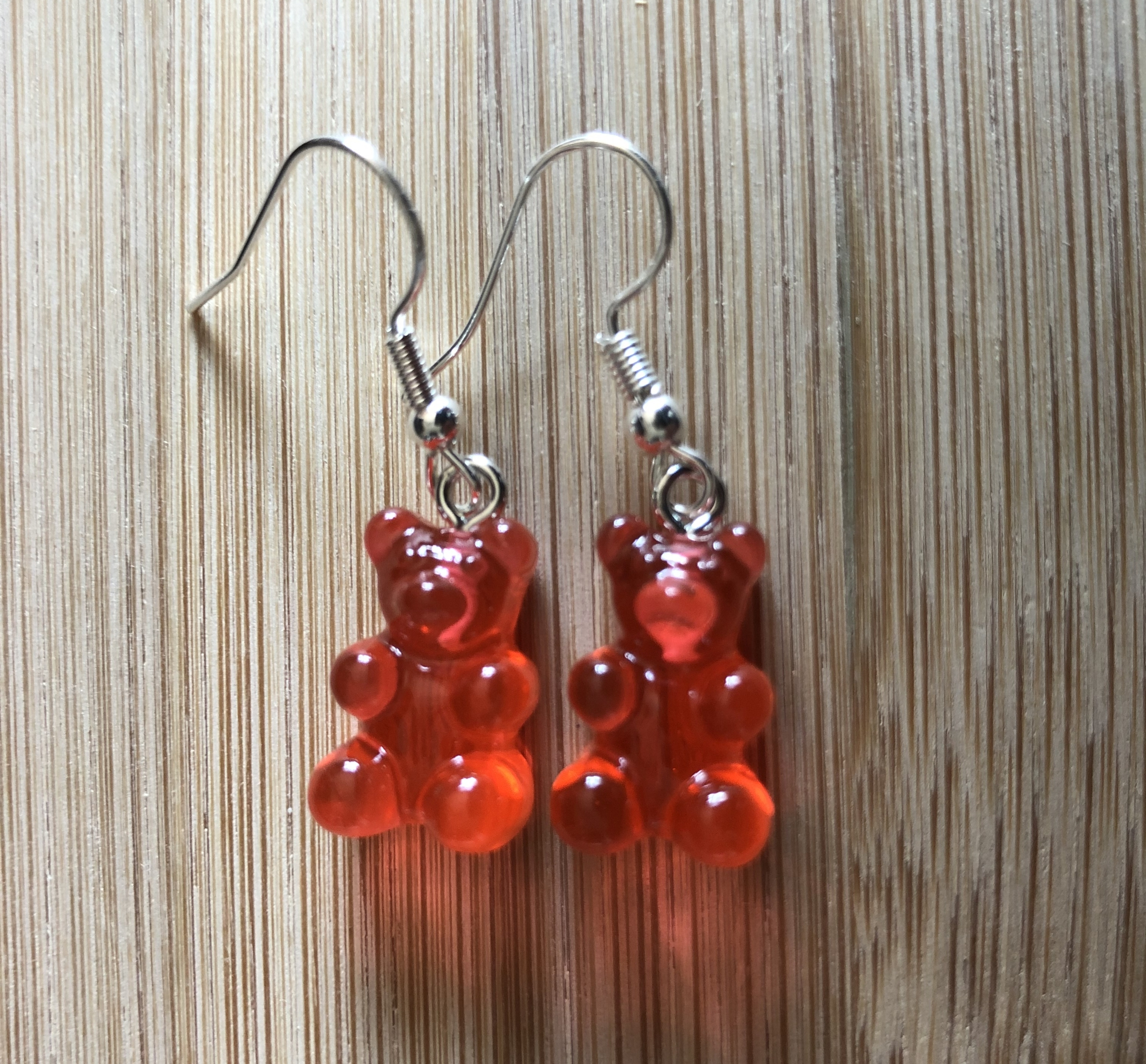 Boucles d\'oreilles ourson bonbon acidulé transparent rouge - Angel shop