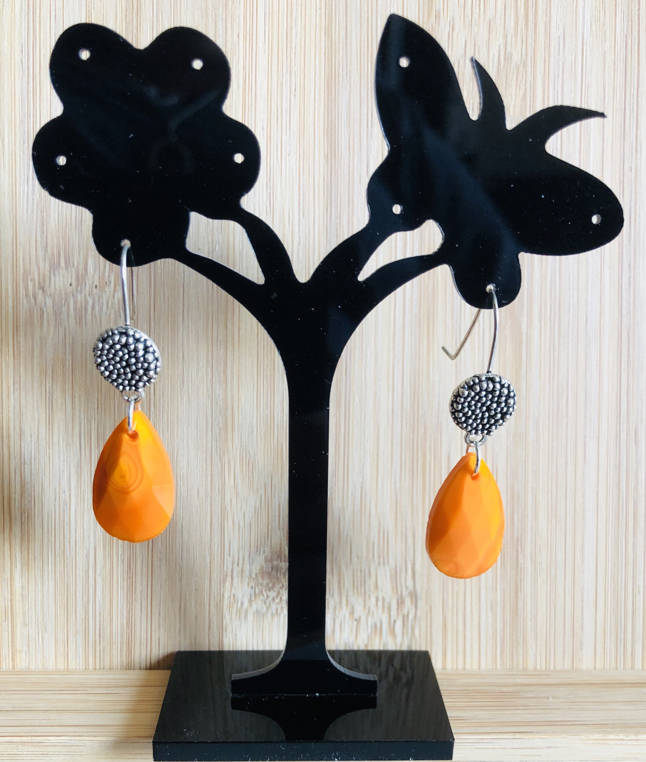 Boucles d\'oreilles jade orange forme goutte crochets - Angel shop