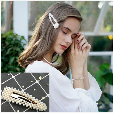 Barrette perles triangulaire - Angel shop