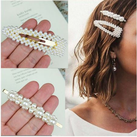 Barrettes lot de 2 en perles blanches - Angel shop