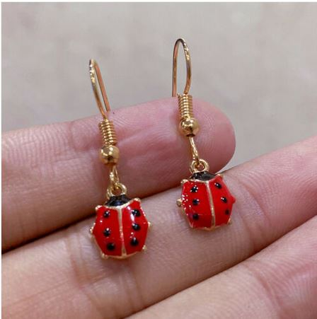Boucles d\'oreilles cocinelle rouge crochets - Angel shop