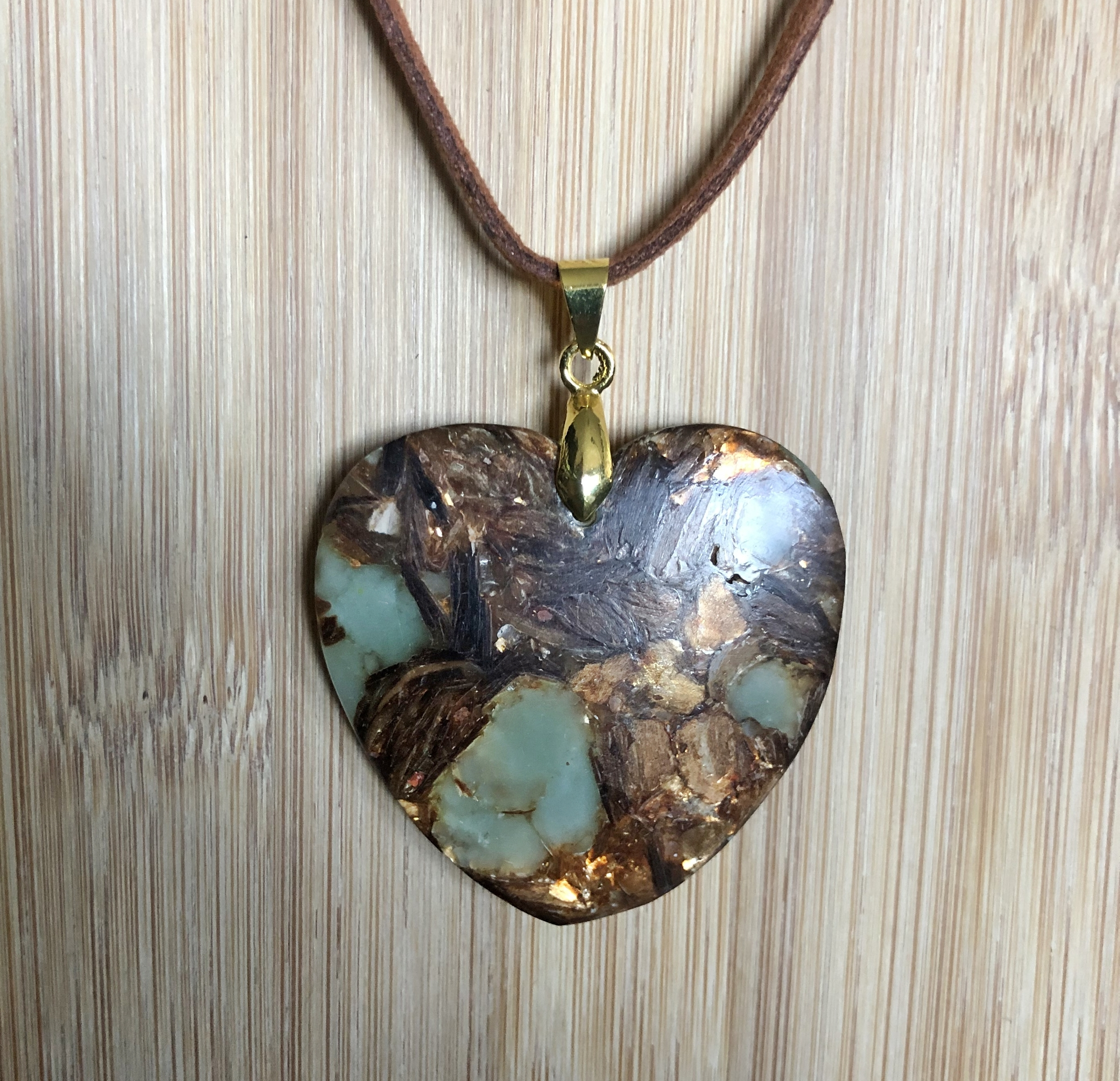 Collier jaspe de sediments marins & Or Cuivre marron bornite forme coeur - Angel shop