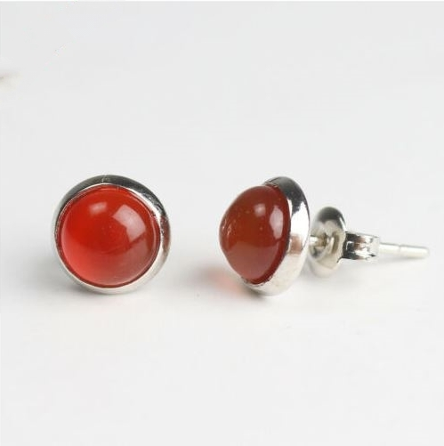 Boucles d\'oreilles AGATE ROUGE puces - Angel shop