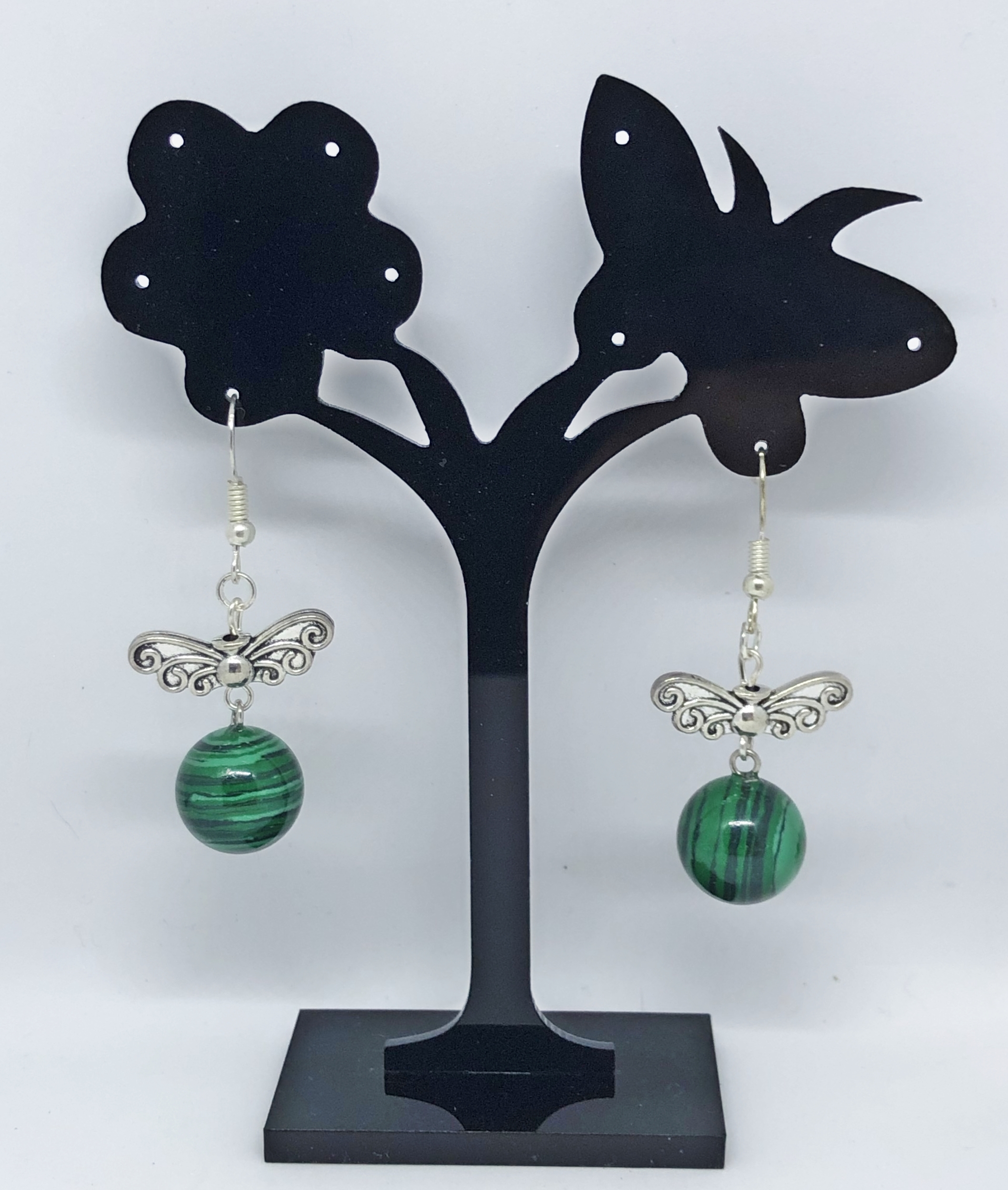 Boucles d\'oreilles bille malachite et papillon argent tibétain crochets - Angel shop