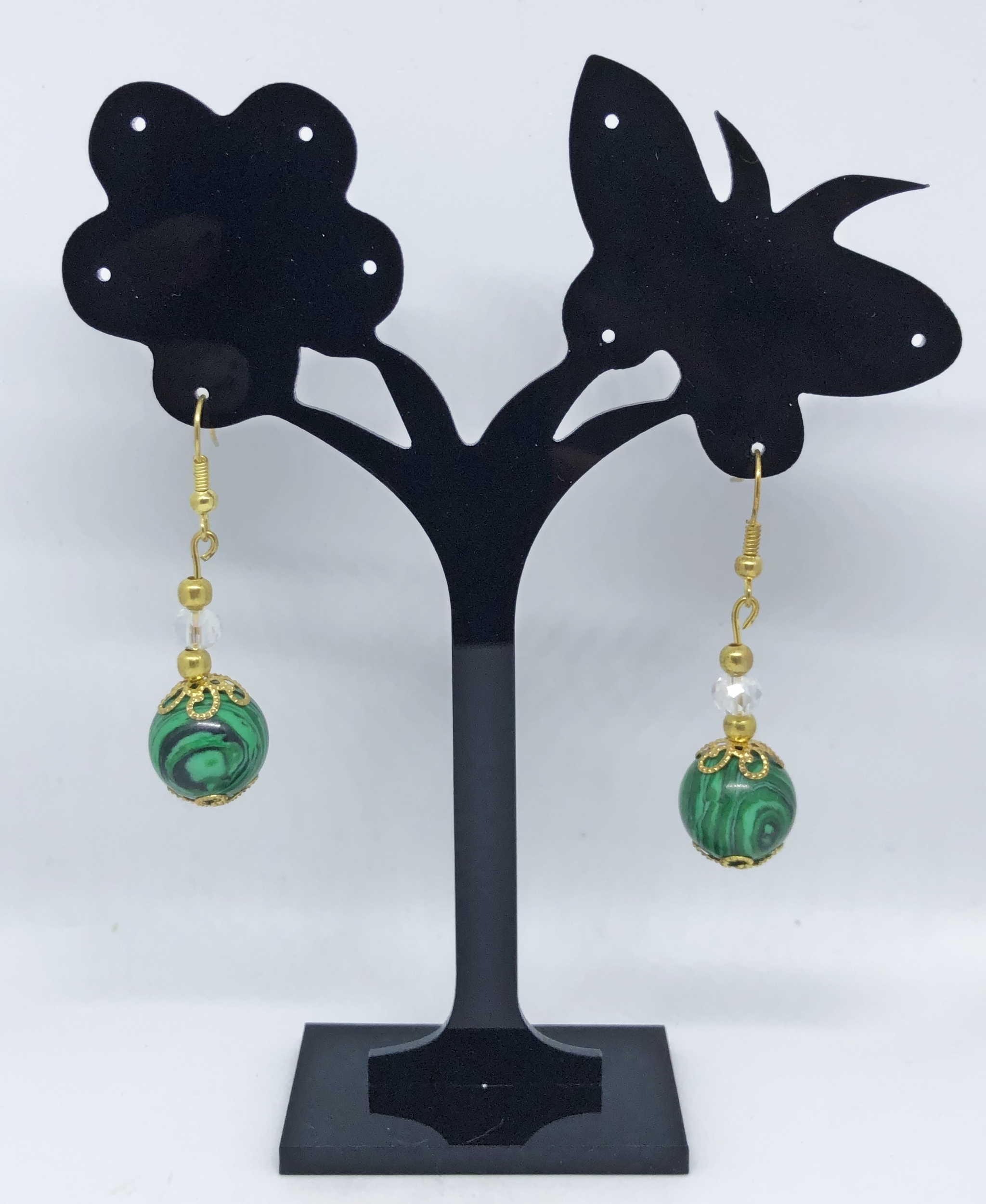 Boucles d\'oreilles bille malachite et perle cristal factée crochets - Angel shop